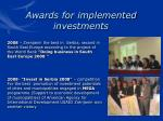 awards for implemented investments20
