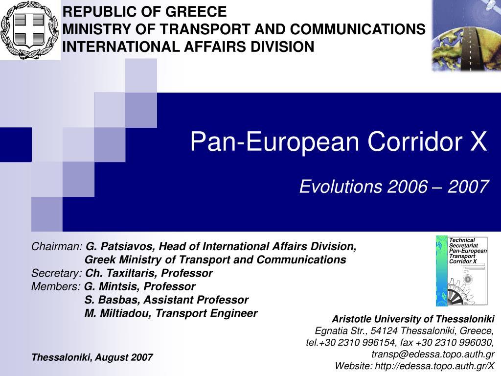 pan european corridor x evolutions 2006 2007 l.