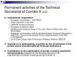 permanent activities of the technical secretariat of corridor x 2 2