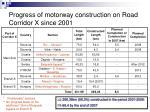 progress of motorway construction on road corridor x since 2001