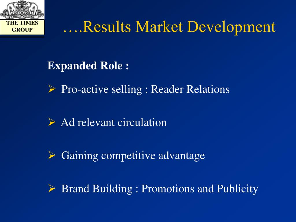 ….Results Market Development