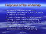 purposes of the workshop