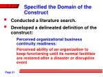 specified the domain of the construct