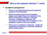 why is the research relevant cont17