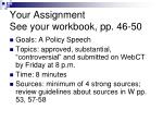 your assignment see your workbook pp 46 50
