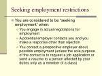 seeking employment restrictions52
