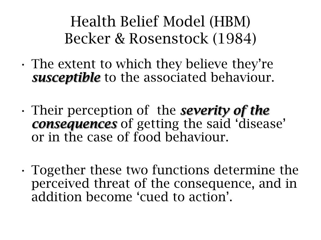 health belief model hbm becker rosenstock 1984 l.