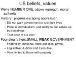 us beliefs values