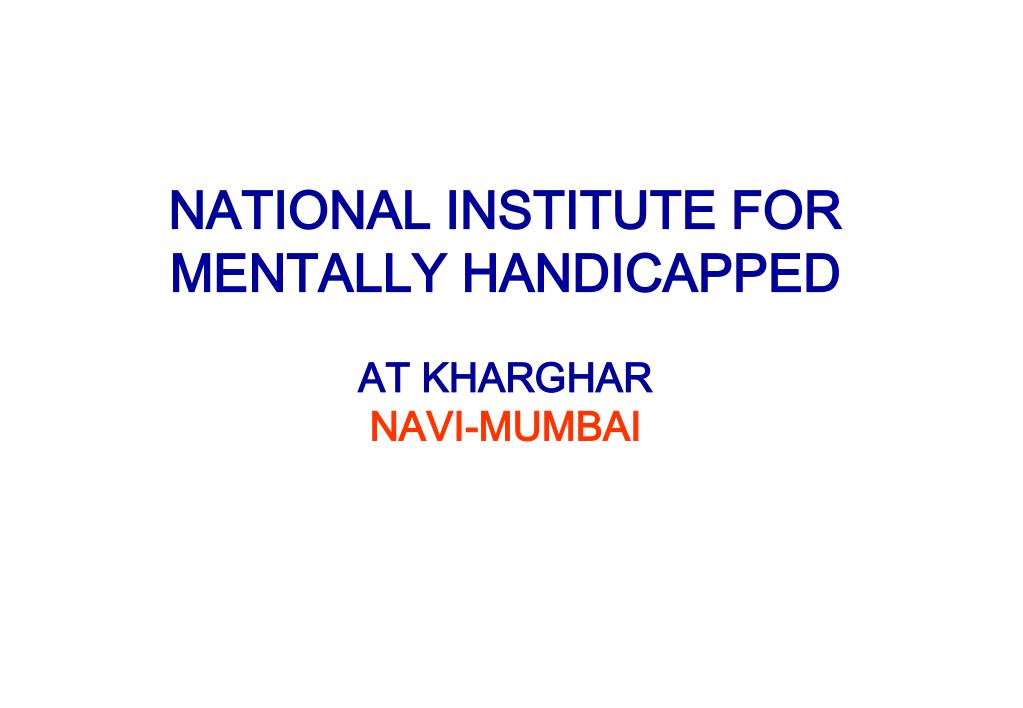 NATIONAL INSTITUTE FOR