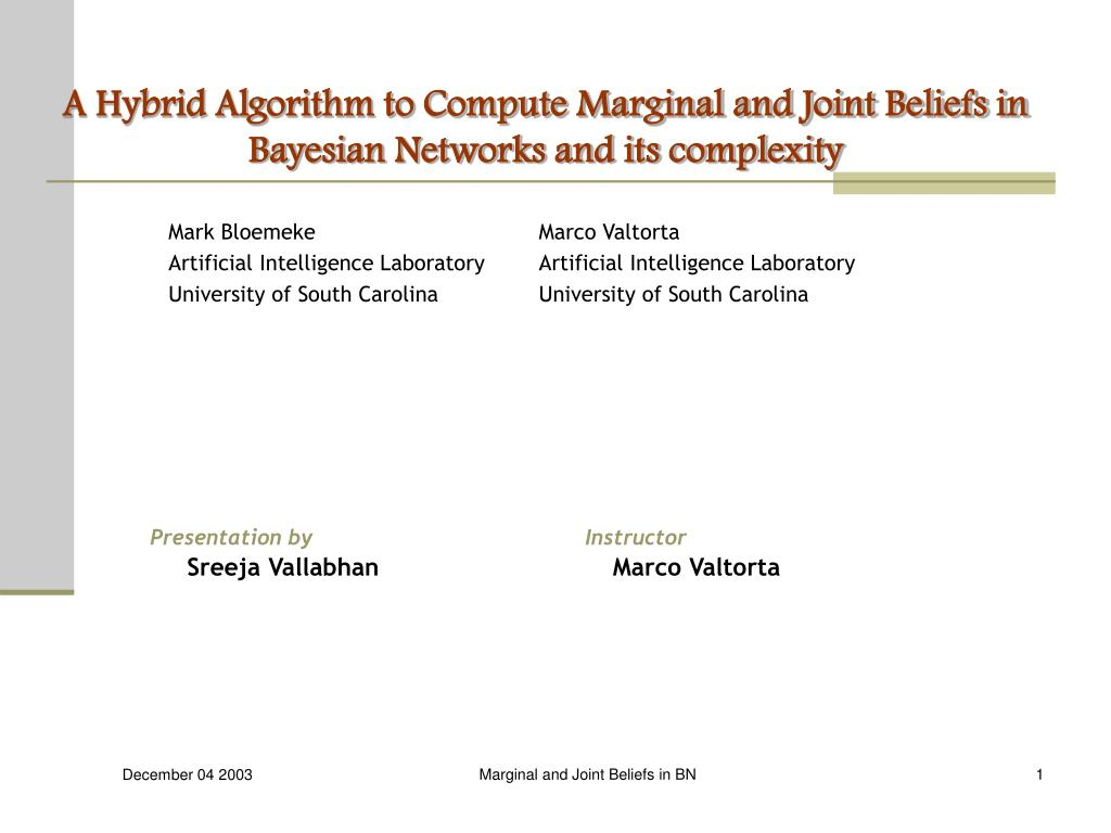 a hybrid algorithm to compute marginal and joint beliefs in bayesian networks and its complexity l.