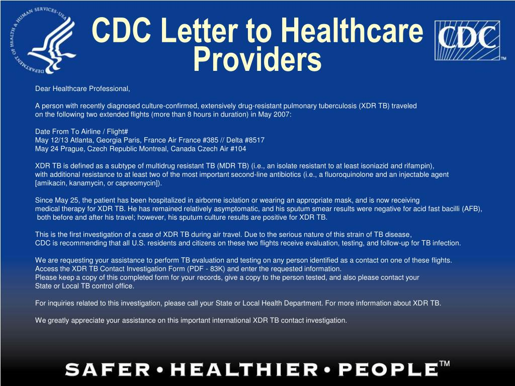 CDC Letter to Healthcare Providers