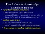 pros contras of knowledge acquisition methods