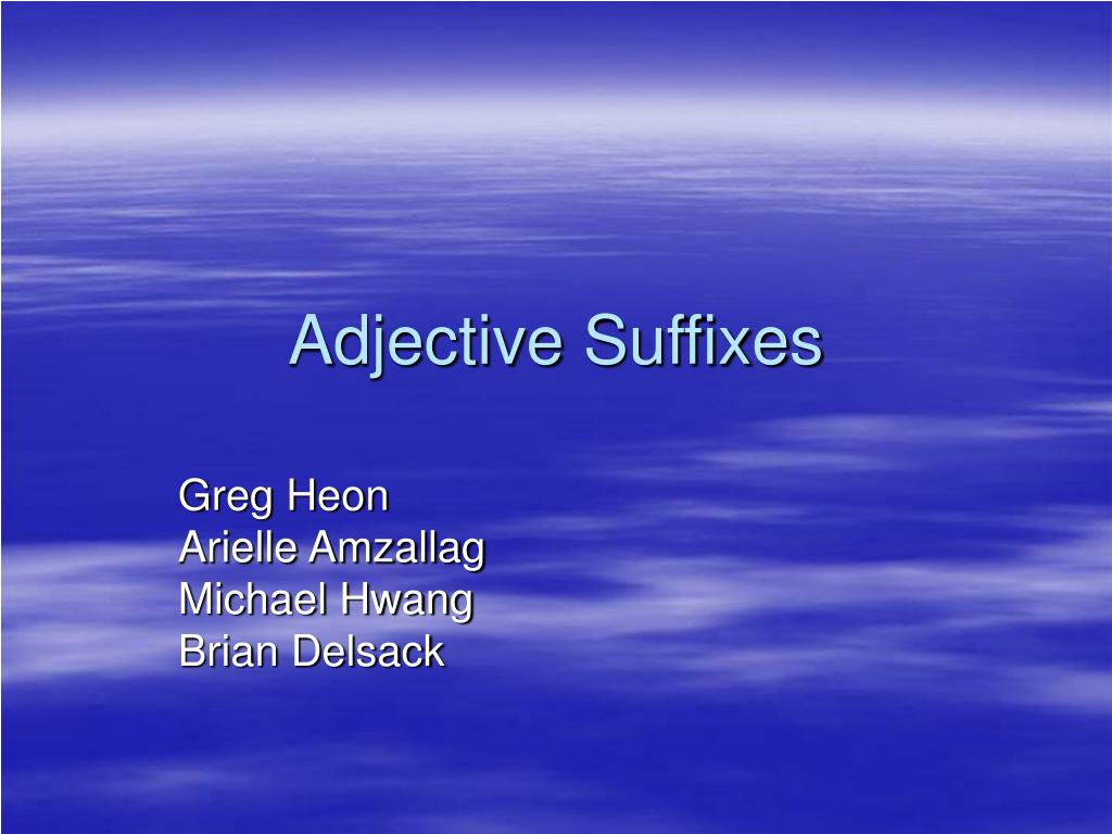 adjective suffixes l.