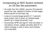 incorporating an ndc system centered on us soc sec parameters