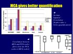 mca gives better quantification