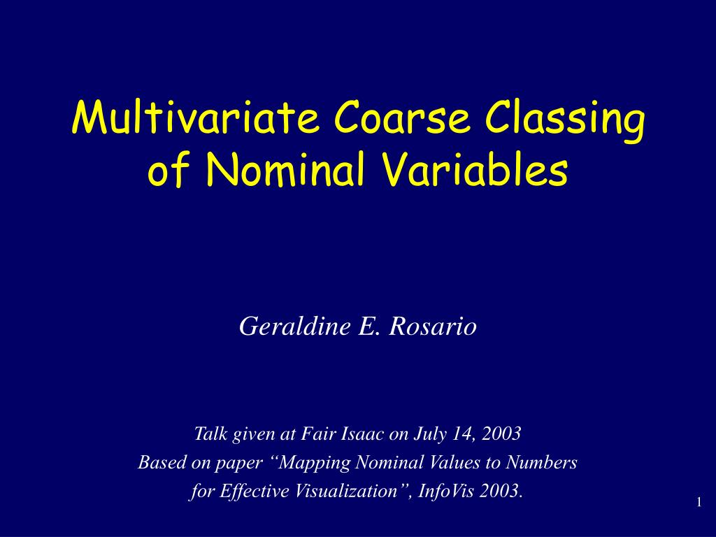 multivariate coarse classing of nominal variables l.