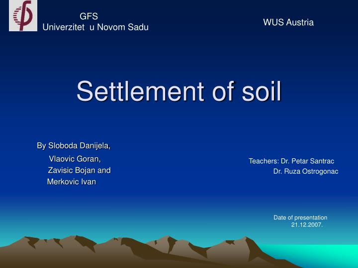 settlement of soil n.