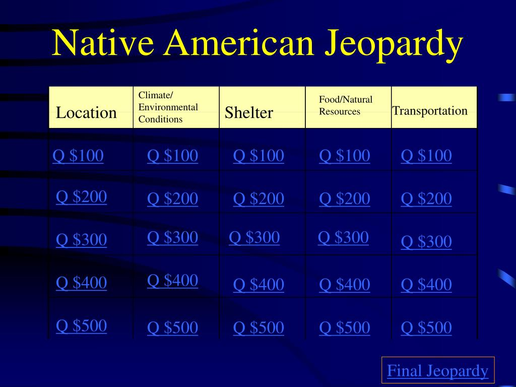 native american jeopardy l.
