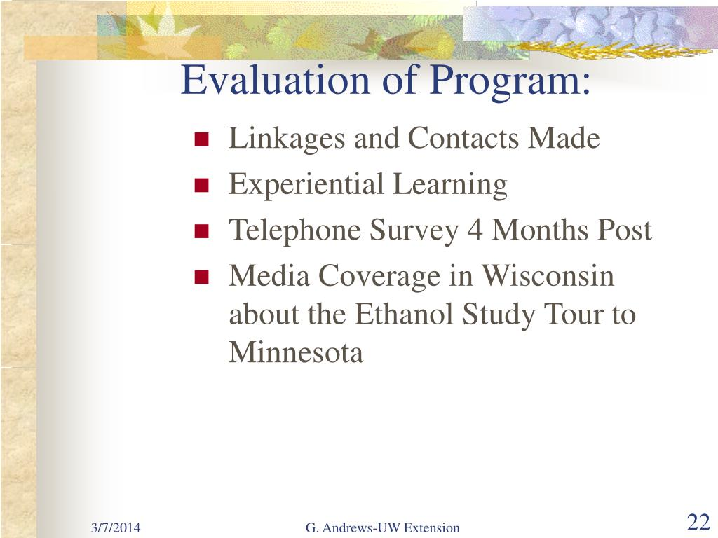 Evaluation of Program: