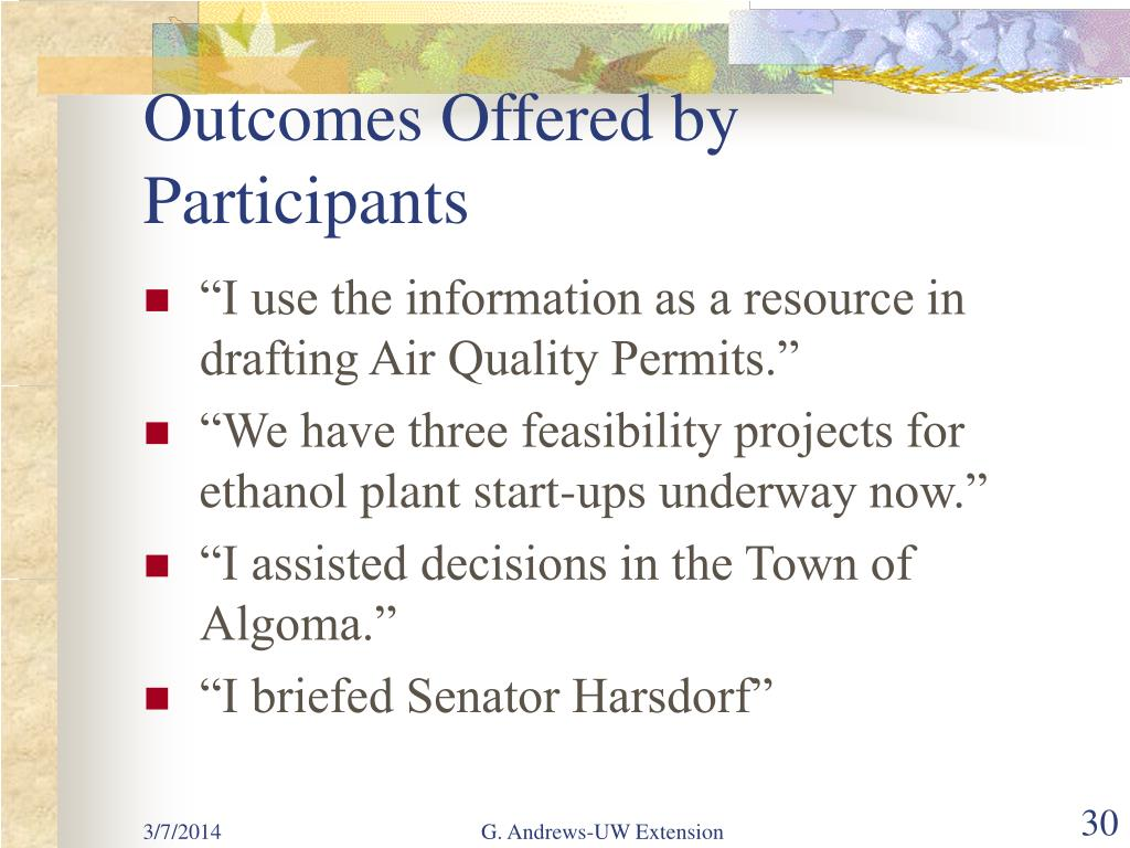 Outcomes Offered by Participants