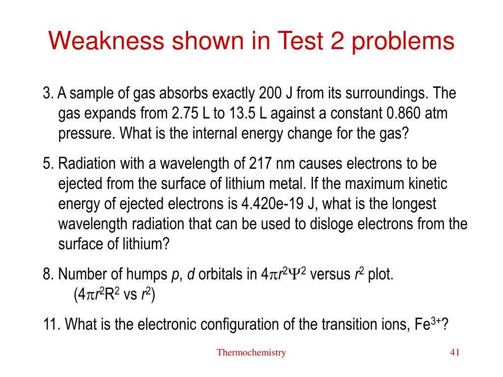 Weakness shown in Test 2 problems