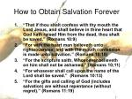 how to obtain salvation forever