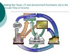 adding net taxes t and government purchases g to the circular flow of income
