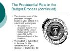the presidential role in the budget process continued