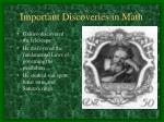 important discoveries in math