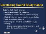 developing sound study habits
