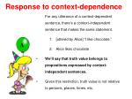 response to context dependence