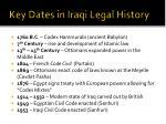key dates in iraqi legal history