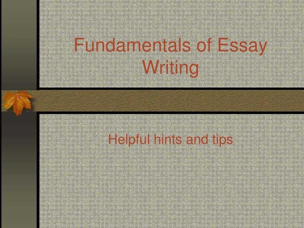 fundamentals of essay writing l.