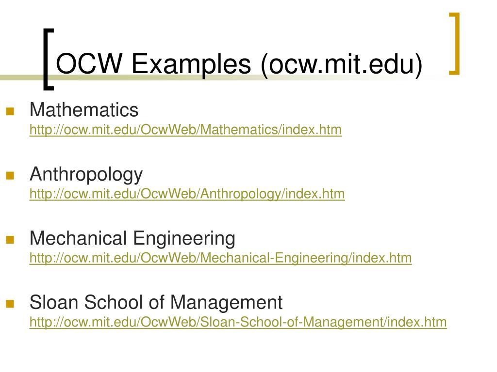 OCW Examples (ocw.mit.edu)