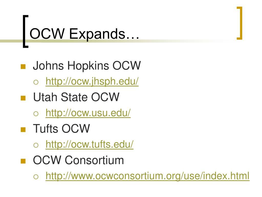 OCW Expands…