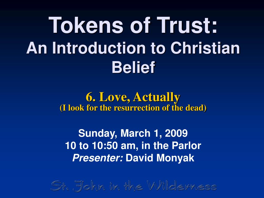 tokens of trust an introduction to christian belief l.