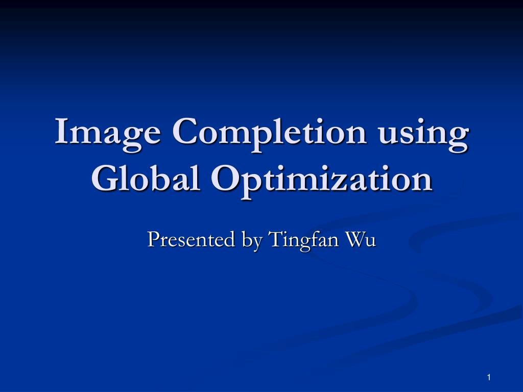image completion using global optimization l.
