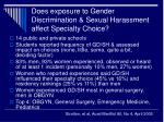 does exposure to gender discrimination sexual harassment affect specialty choice