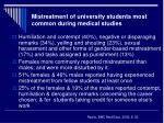 mistreatment of university students most common during medical studies