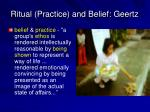 ritual practice and belief geertz