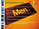 questionnaire cont