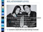 relationship level