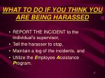 what to do if you think you are being harassed