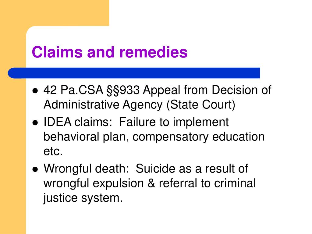 Claims and remedies