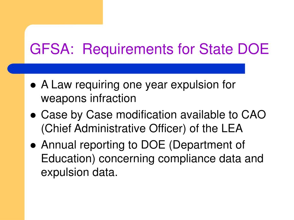 GFSA:  Requirements for State DOE