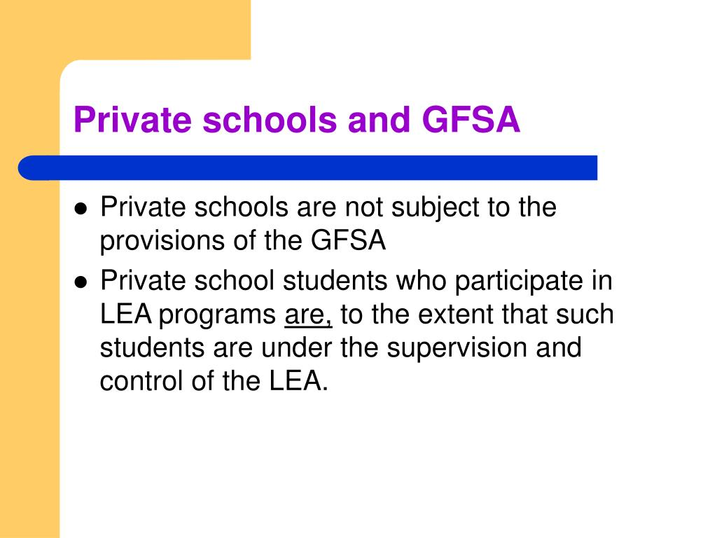 Private schools and GFSA