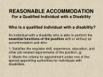 reasonable accommodation for a qualified individual with a disability42