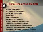 functions of the he nab