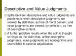 descriptive and value judgments