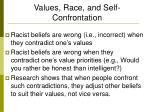 values race and self confrontation